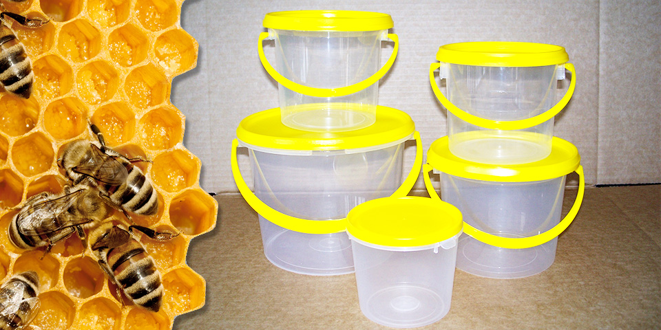Yellow-lid-honey-containers